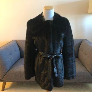 Black Faux Fur Coat, Size Small.